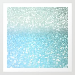 Mermaid Sea Foam Ocean Ombre Glitter Art Print