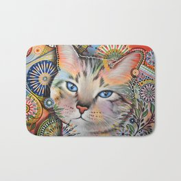 Aslan ... Abstract cat art painting, by Amy Giacomelli Bath Mat