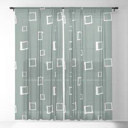 Hand Drawn Abstract Square Pattern - Viridian Green Sheer Curtain