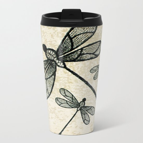 Dragonflies on tan texture Metal Travel Mug