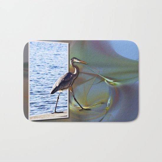 Blue Heron Strutting Out Of Frame Bath Mat