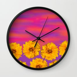 Yellow Floral Sunset Wall Clock