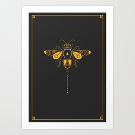 Geometric Honey Bee Art Print