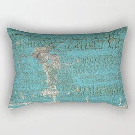 Rustic Wood with Bright Turquoise Paint Weathered Aged to perfection Rectangular Pillow