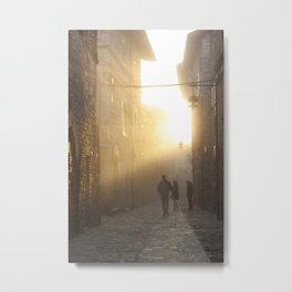 Golden Light in Assisi, Italy Metal Print