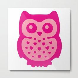 Cute Pink Baby Owl Metal Print