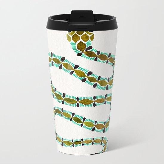 Turquoise Serpent Metal Travel Mug