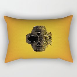 fractal black skull portrait with orange abstract background Rectangular Pillow