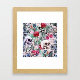 Flowers and Skulls (Pink) Framed Art Print
