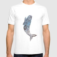 Whale  MEDIUM White Mens Fitted Tee