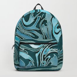 Liquid Glamour Luxury Turquoise Teal Watercolor Art Backpack