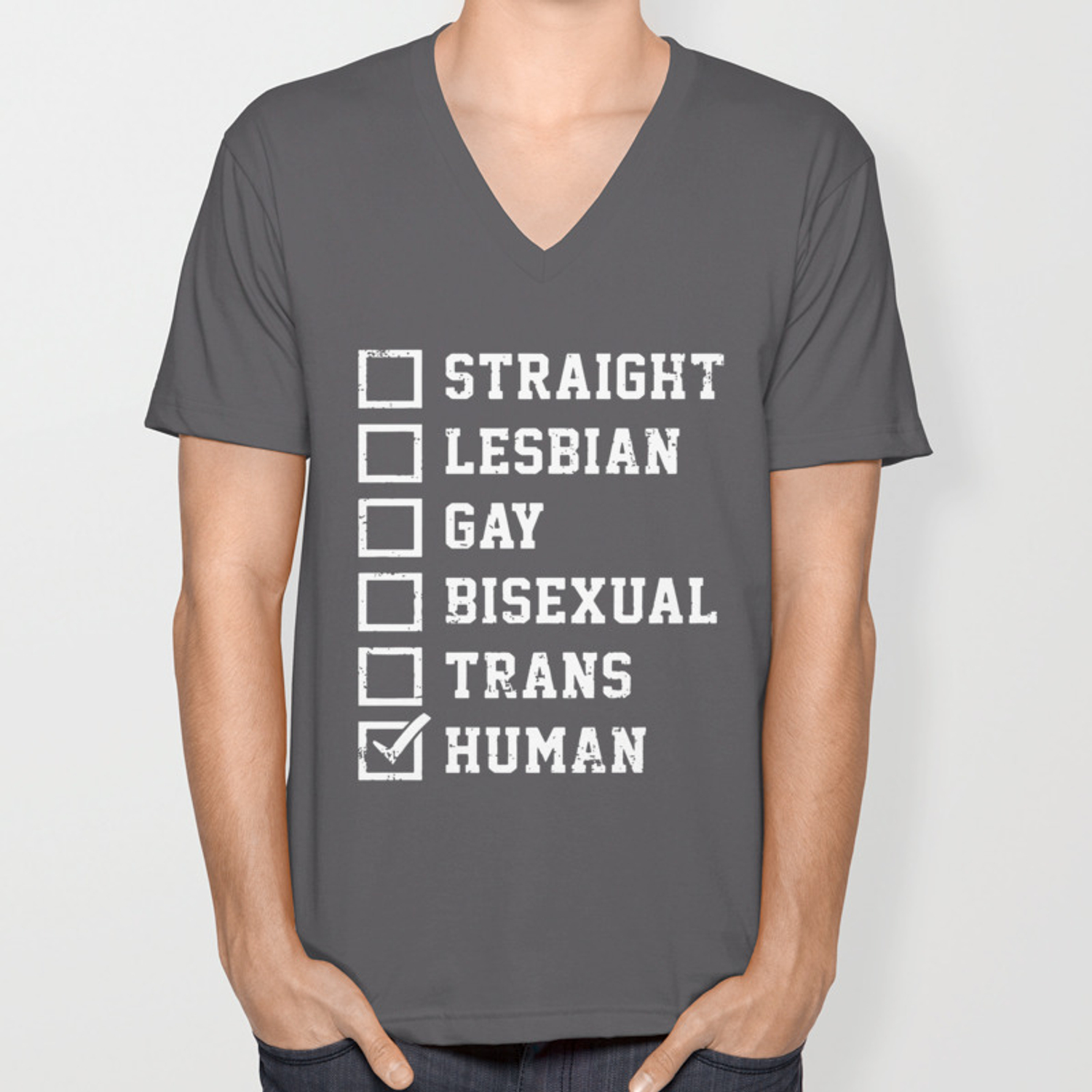 4ade2a92d2bf Straight Lesbian Gay Bisexual Trans Humans Checklist Pride Fashion Novelty  Mens Gay T-Shirts Unisex V-Neck by vikkibannerman   Society6