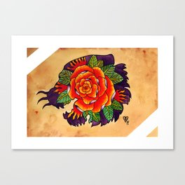 Tiger Rose Silhouette Canvas Print