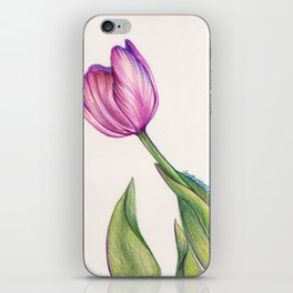 Purple Tulip in Colored Pencil iPhone Skin