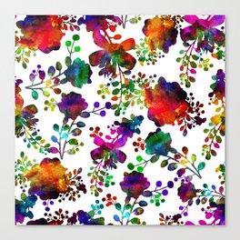 Watercolor unusual  flower rainbow doodle Canvas Print