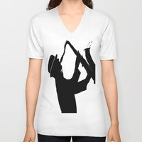 saxophone V-neck T-shirts featuring The Saxophone Man   by Queenmissy