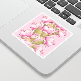 Pink Peonies on a pink background - #Sociey6 #buyart Sticker