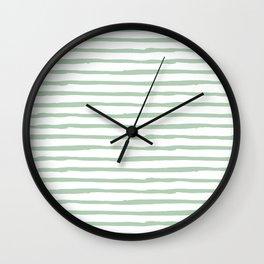 Elegant Stripes White and Pastel Cactus Green Wall Clock
