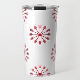 Snowflakes - white and red Travel Mug