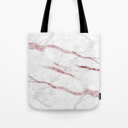White and rose-gold faux marble print Tote Bag