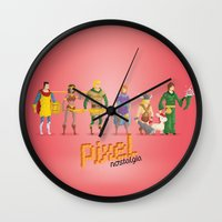 dungeons and dragons Wall Clocks featuring Dungeons and Dragons - Pixel Nostalgia by Boo! Studio