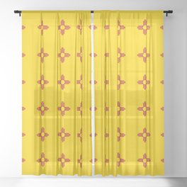 flag of new mexico 3 Sheer Curtain