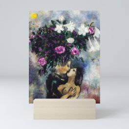 Lovers Under Calla Lilies & Flowers by Marc Chagall Mini Art Print