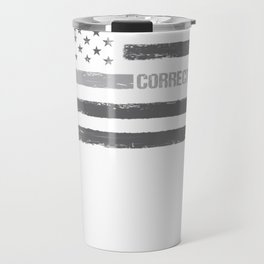 Correctional Officer Thin Silver Line American Flag Hoodie Travel Mug