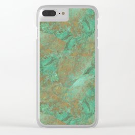 Verdigris Patched Texture Clear iPhone Case