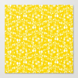 Gold Yellow Floral Pattern Canvas Print