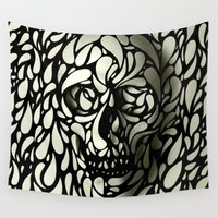 dark Wall Tapestries featuring Skull by Ali GULEC