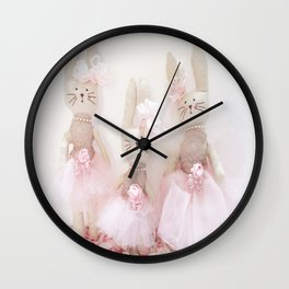 Bunnies Pretty in Pink Wall Clock