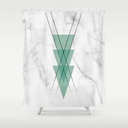 Marble Scandinavian Design Geometric Triangle Shower Curtain