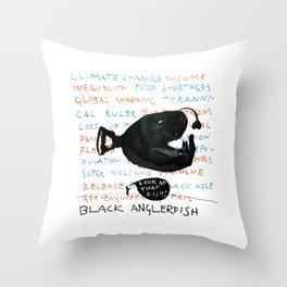 Black Anglerfish Throw Pillow