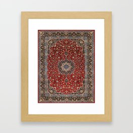 N63 - Red Heritage Oriental Traditional Moroccan Style Artwork Framed Art Print