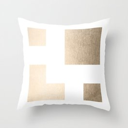 Simply Geometric in White Gold Sands on White Throw Pillow