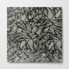 Black And White Tropical Leaves Pattern Metal Print