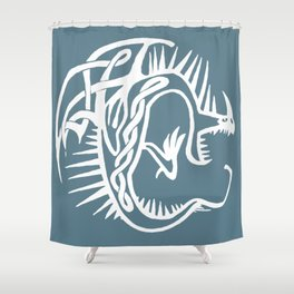 Celtic Knotwork Deadly Nadder (White) Shower Curtain