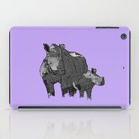 newspaper iPad Cases featuring Newspaper Rhinoceros by Doolin