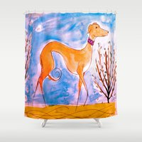 greyhound Shower Curtains featuring Greyhound by Caballos of Colour