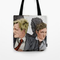 true detective Tote Bags featuring True Detective by The Art Warriors