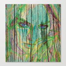 Woman on wood Canvas Print