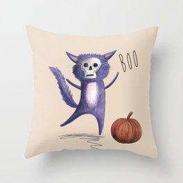 Halloween minxy cat Throw Pillow