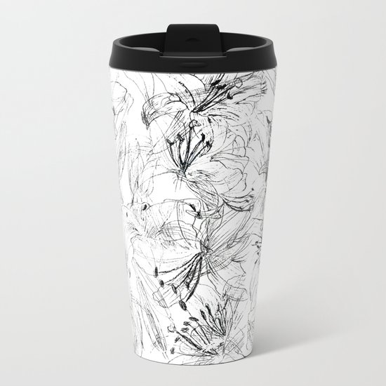 lily sketch black and white pattern Metal Travel Mug