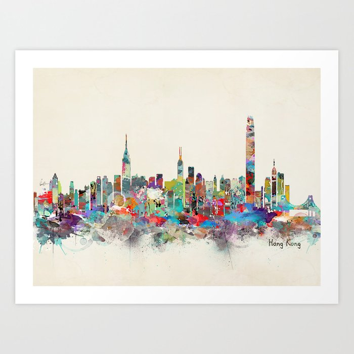 Hong Kong Art: Hong Kong Skyline Art Print By Bribuckley