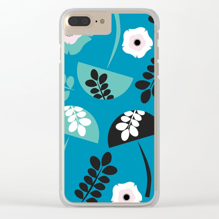 Mushrooms and flowers Clear iPhone Case