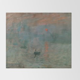 Claude Monet - Impression, Sunrise Throw Blanket