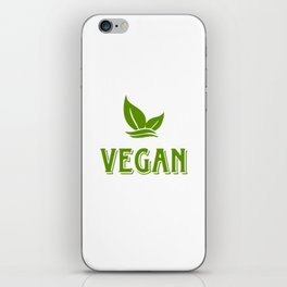 Vegan, white circle iPhone Skin