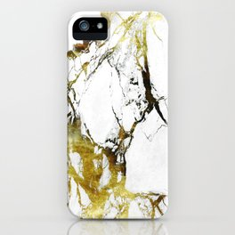 Gold-White Marble Impress iPhone Case