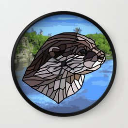 Llyca Queen of the Rivers - Mosaic Otter Wall Clock
